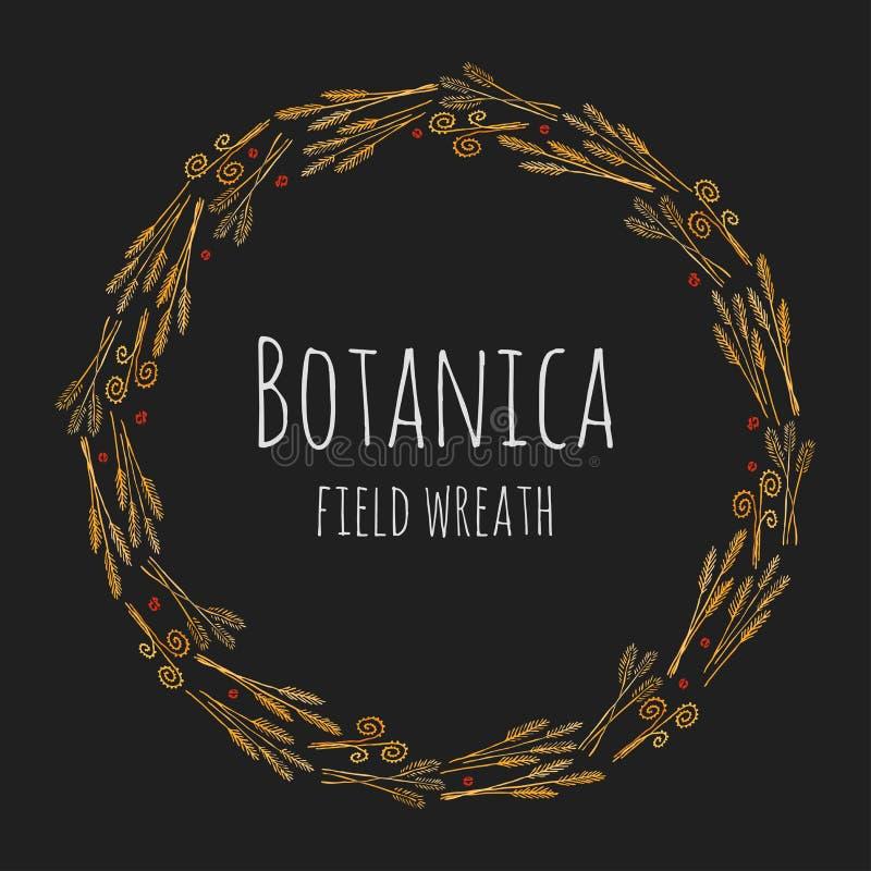 Campo de Botanica - la oscuridad estilizó la guirnalda colorida que consistía en las espiguillas del campo ilustración del vector