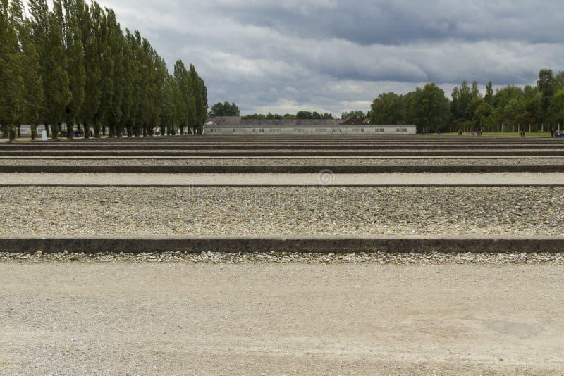 Campo de concentración de Dachau Sitios de los edificios del cuartel hoy Dac fotos de archivo