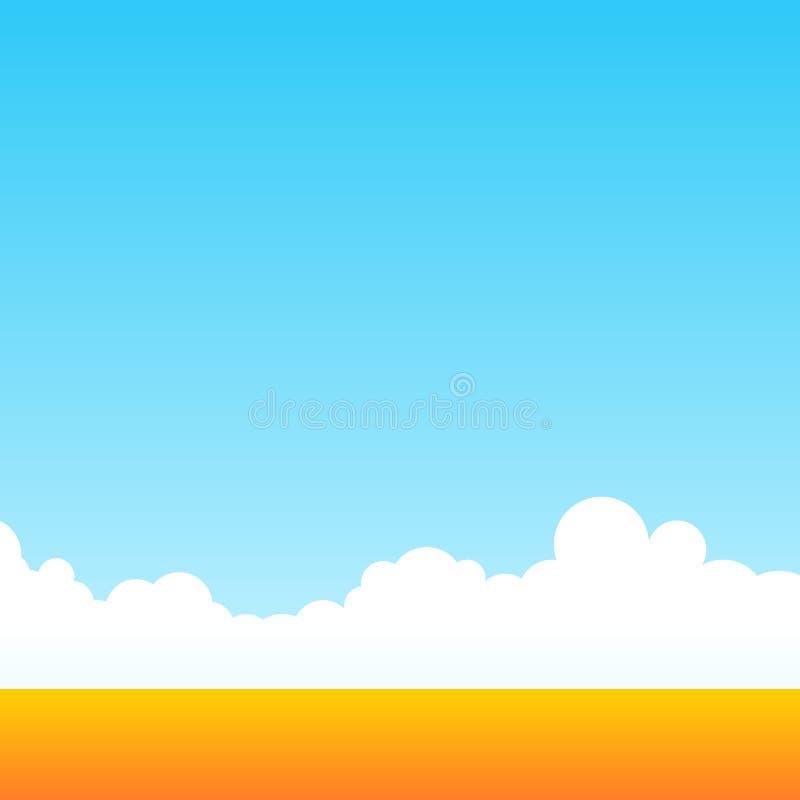 Campo de exploração agrícola de trigo no céu diário limpo Paisagem exterior rural Estilo dos desenhos animados do contexto do vet ilustração do vetor
