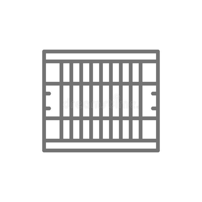 Campo de fútbol americano, línea icono del equipo de juego ilustración del vector