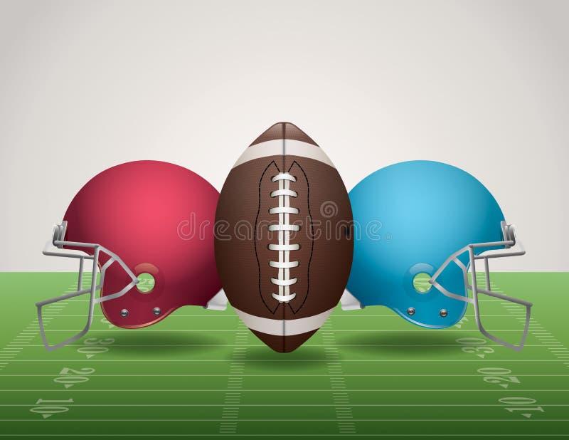 Campo de fútbol, bola, y cascos americanos libre illustration
