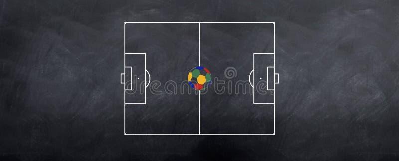 Campo de fútbol con la bola de la taza de mundo ilustración del vector