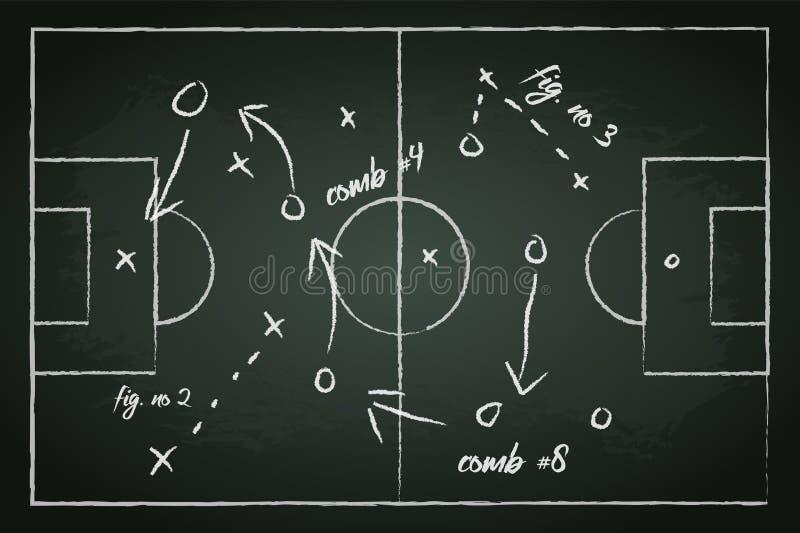 Campo de fútbol con las líneas de la táctica stock de ilustración