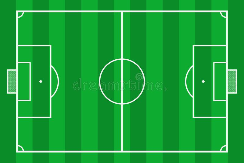 Campo de fútbol Corte del fútbol de la hierba verde Campo del fondo de la maqueta para la estrategia y el cartel del deporte Vect stock de ilustración