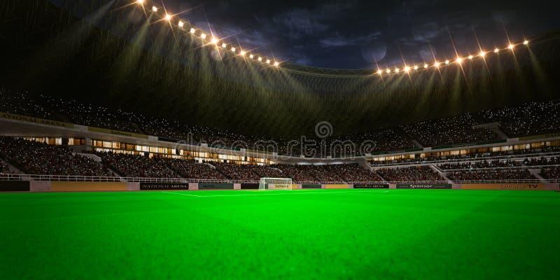 Campo de fútbol de la arena del estadio de la noche foto de archivo libre de regalías