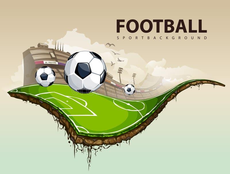 Campo de fútbol surrealista stock de ilustración