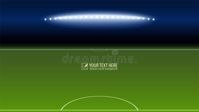 Campo de fútbol verde del área del portero con los proyectores con el copia-espacio para su texto o mensaje encendido ilustración del vector