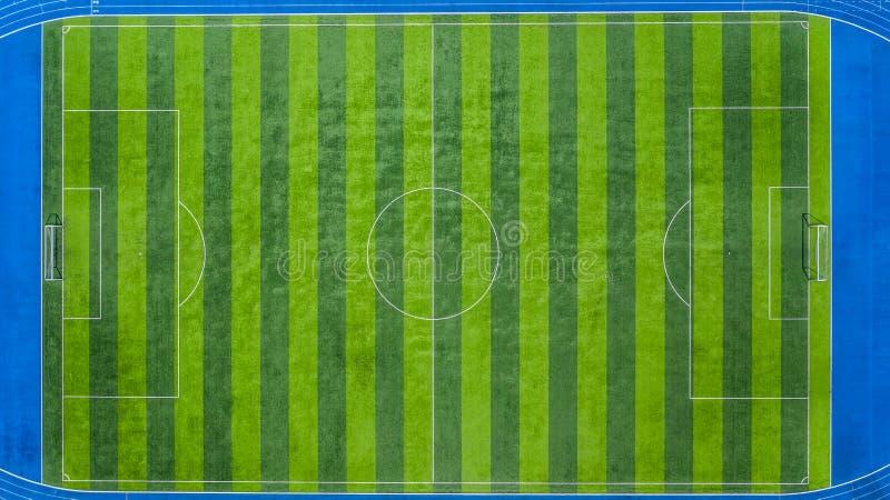 Campo de fútbol, campo de fútbol, campo verde del estadio de fútbol, visión aérea fotografía de archivo libre de regalías
