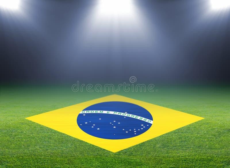 Campo de fútbol verde, indicador del Brasil imagen de archivo libre de regalías