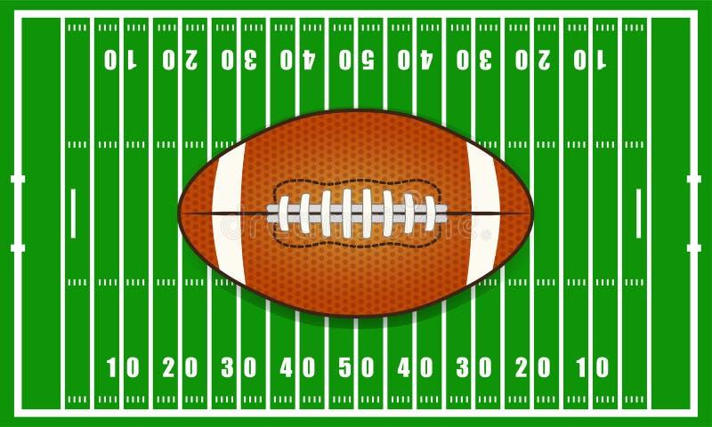 Campo de fútbol y bola americanos ilustración del vector