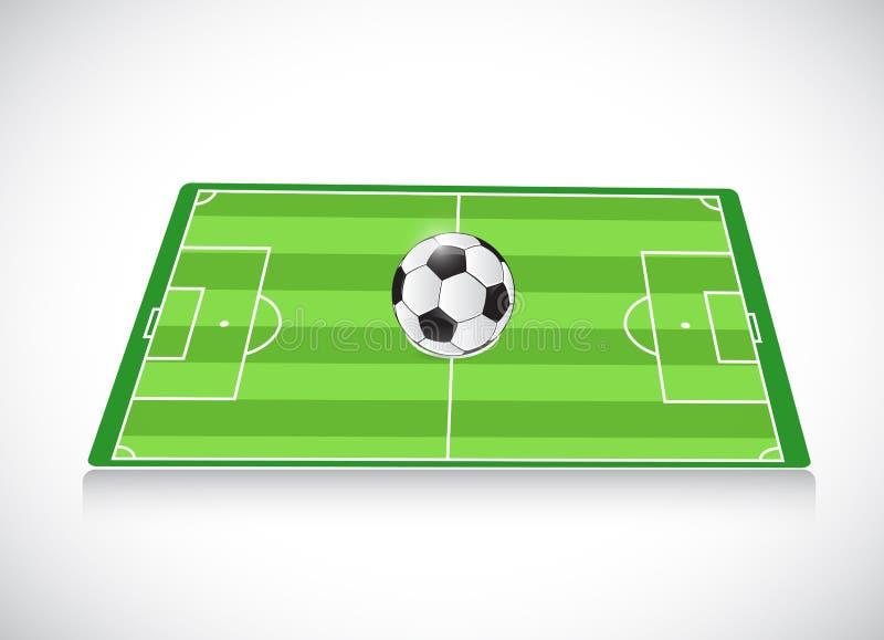 Campo de fútbol y bola Diseño de la ilustración ilustración del vector