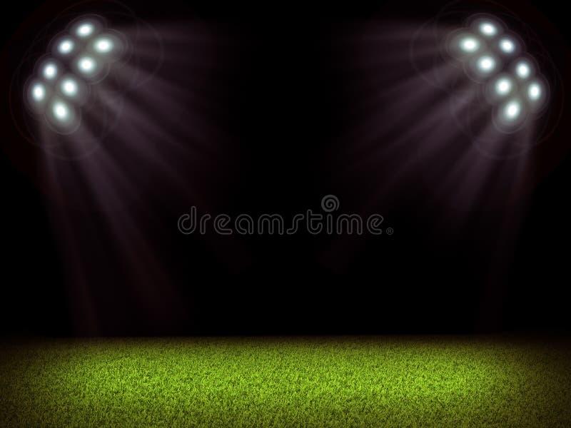 Campo de fútbol y luces brillantes imágenes de archivo libres de regalías