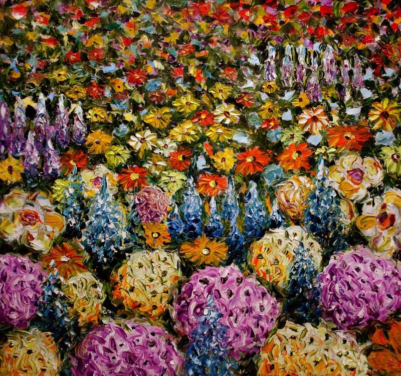 Campo de flor abstracto, claro del fondo colorido de las flores imagen de archivo libre de regalías