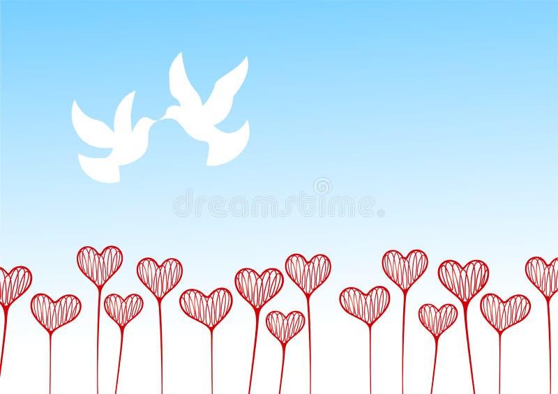 Campo de flor de corazones ilustración del vector