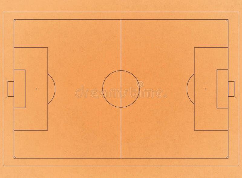 Campo de futebol - arquiteto retro Blueprint ilustração stock