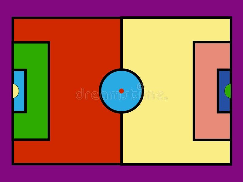 Campo de futebol colorido do pop art ?cones da ilustra??o do vetor ilustração stock