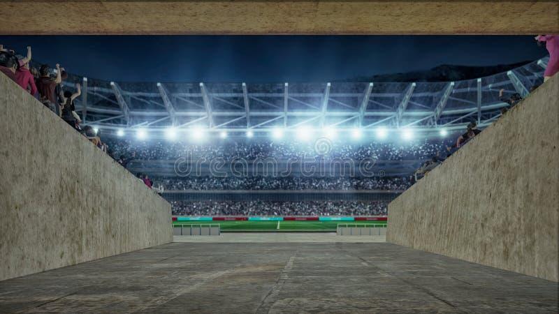 Campo de futebol com luzes e opinião da rendição dos spectors 3d do corredor entrando imagem de stock