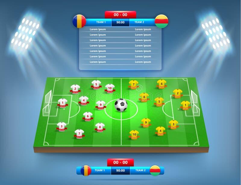 Campo de futebol e conceito dos jogadores ilustração royalty free