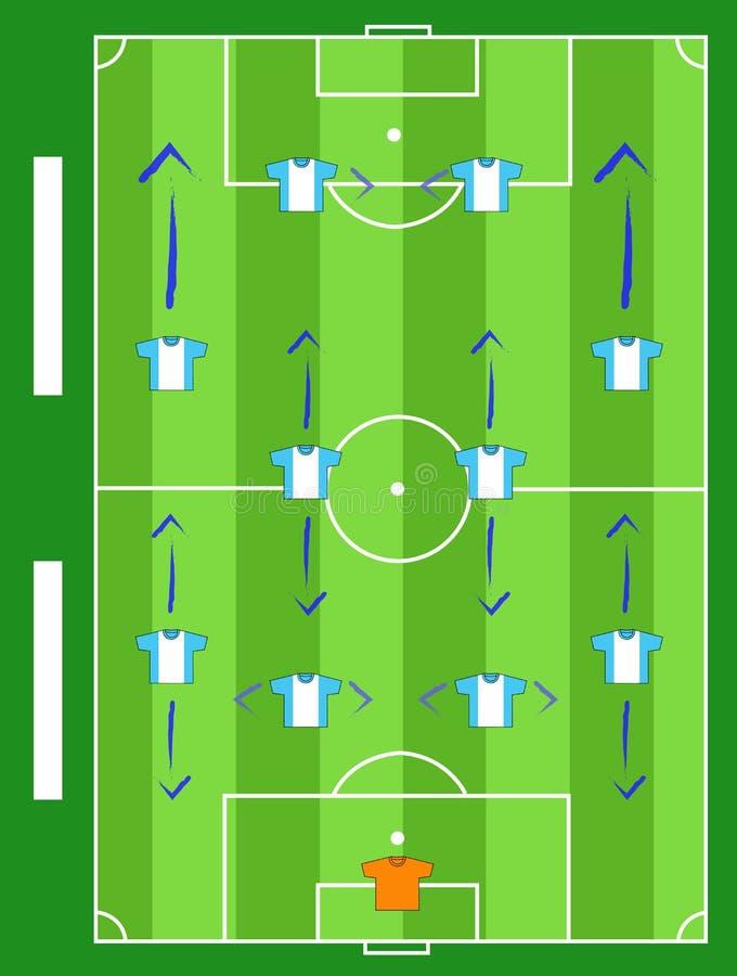 Campo de futebol e equipe dos jogos do jogo ilustração royalty free