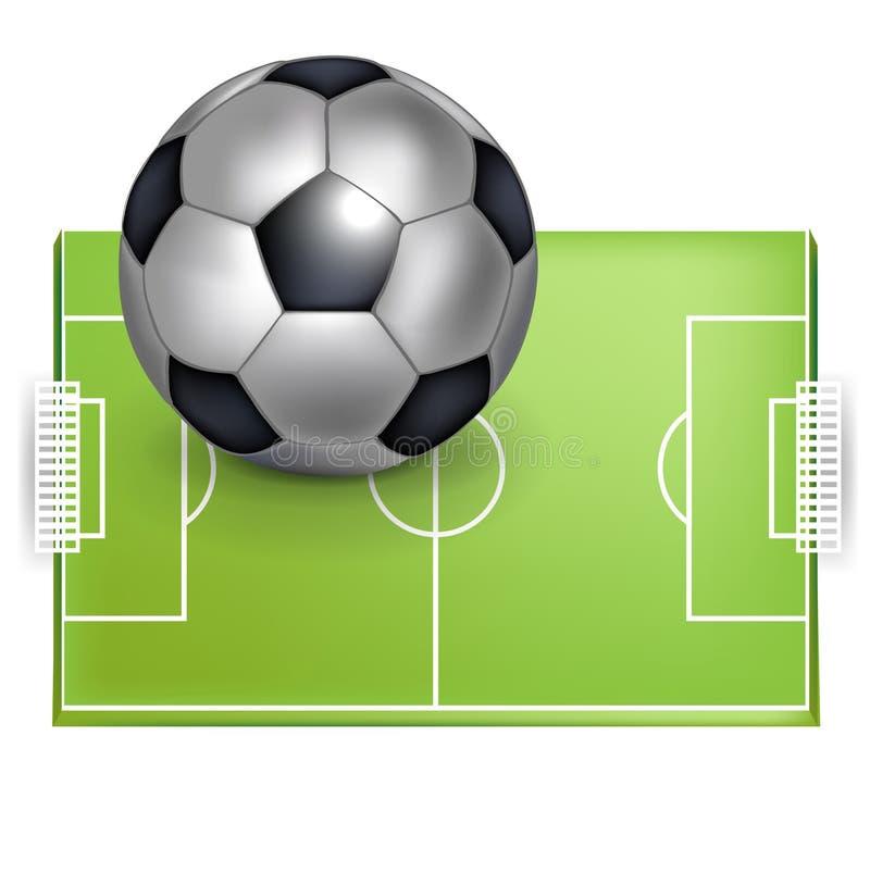 Campo de futebol e esfera do futebol/futebol ilustração do vetor