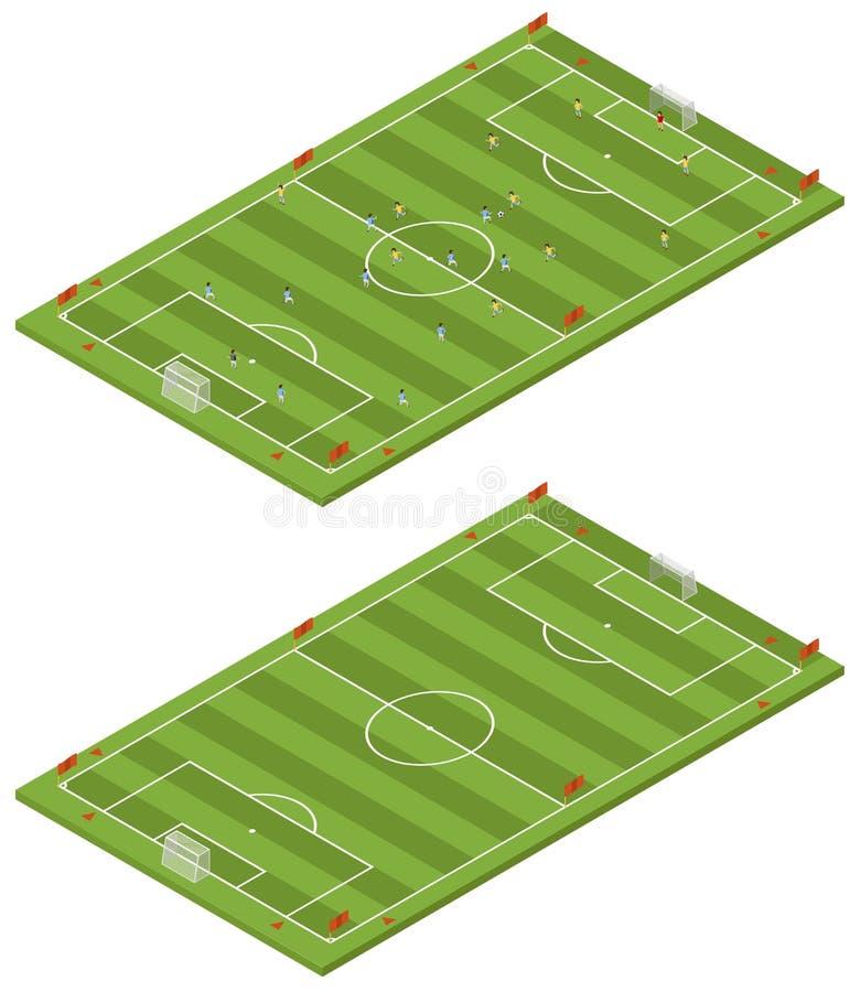 Campo de futebol isométrico ilustração royalty free
