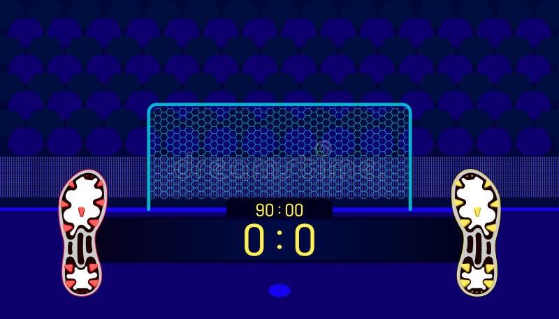 Campo de futebol tempo diferente e contagem da barra do nome da mostra do fósforo da equipe das botas do futebol no ponto central ilustração stock