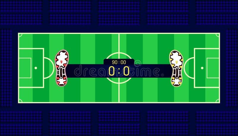 Campo de futebol tempo diferente e contagem da barra do nome da mostra do fósforo da equipe das botas do futebol no ponto central ilustração do vetor