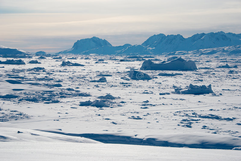 Campo de gelo em Greenland fotos de stock royalty free