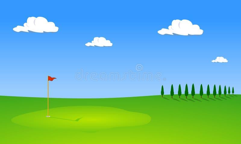 Campo de golf con los árboles libre illustration