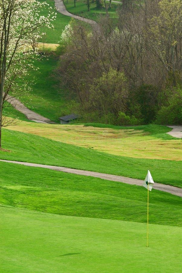 Campo de golf en primavera fotografía de archivo