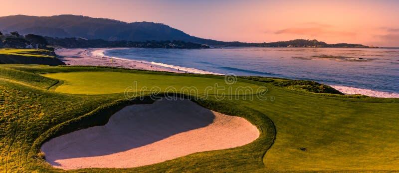 Campo de golf de Pebble Beach, Monterey, California, los E.E.U.U. fotografía de archivo libre de regalías