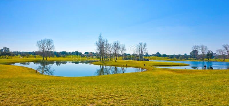 Campo de golfe, cenário bonito da paisagem, céu azul brilhante, Sunny Day, lagos pequenos e árvores imagens de stock royalty free