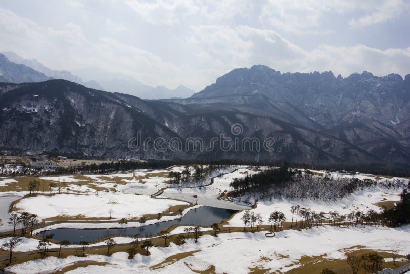 Campo de golfe no inverno foto de stock
