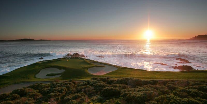 Campo de golfe de Pebble Beach, Monterey, Califórnia, EUA imagens de stock