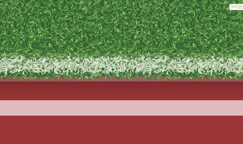 Campo de grama verde do futebol do futebol com pista de atletismo ilustração stock