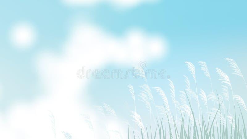 Campo de hierba con la flor blanca y el cielo azul brillante libre illustration