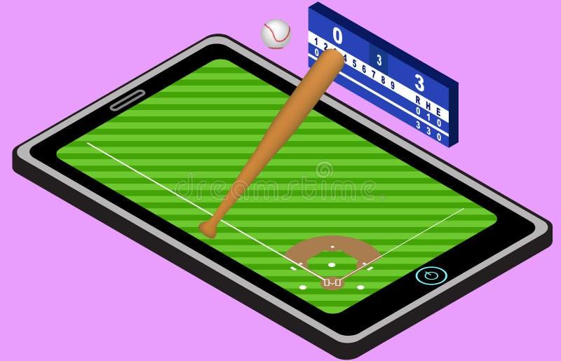 Campo de jogos, bola, bastão de beisebol, e tabuleta do basebol de Infographic Imagem isométrica do basebol Isolado ilustração royalty free