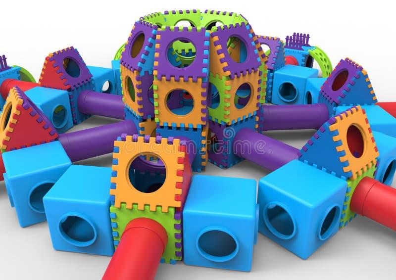 Campo de jogos colorido do castelo ilustração stock