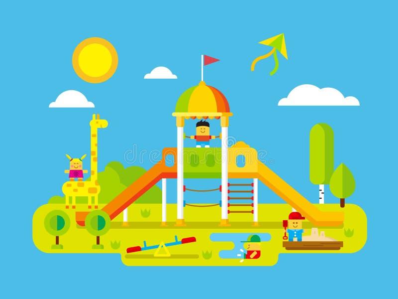 Campo de jogos das crianças ilustração royalty free