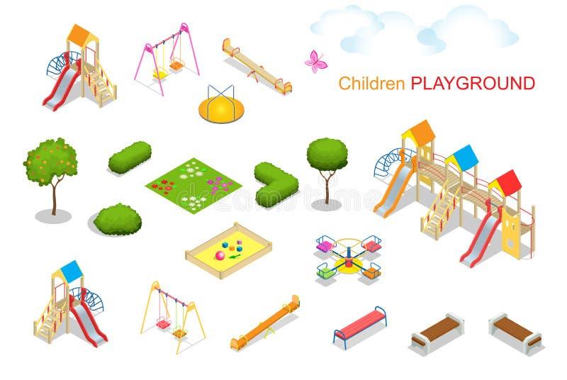 Campo de jogos 2 das crianças Ilustração isométrica lisa do vetor 3d para o infographics Corda do balancim da corrediça do sandpi fotografia de stock
