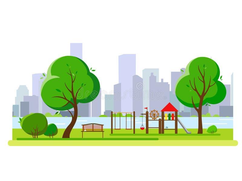 Campo de jogos do ` s das crianças no parque público dos city's Ilustração do vetor ilustração royalty free
