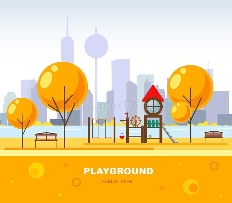 Campo de jogos do ` s das crianças no parque público dos city's Ilustração do vetor Cena urbana futurista ilustração stock