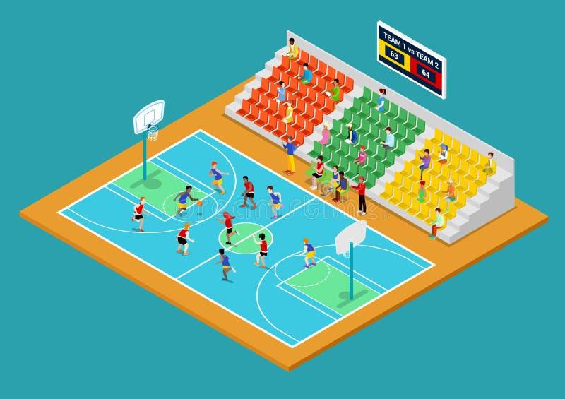 Campo de jogos isométrico do basquetebol com jogadores e fãs ilustração royalty free
