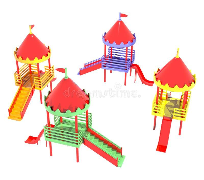 Campo de jogos plástico quatro grupos foto de stock royalty free