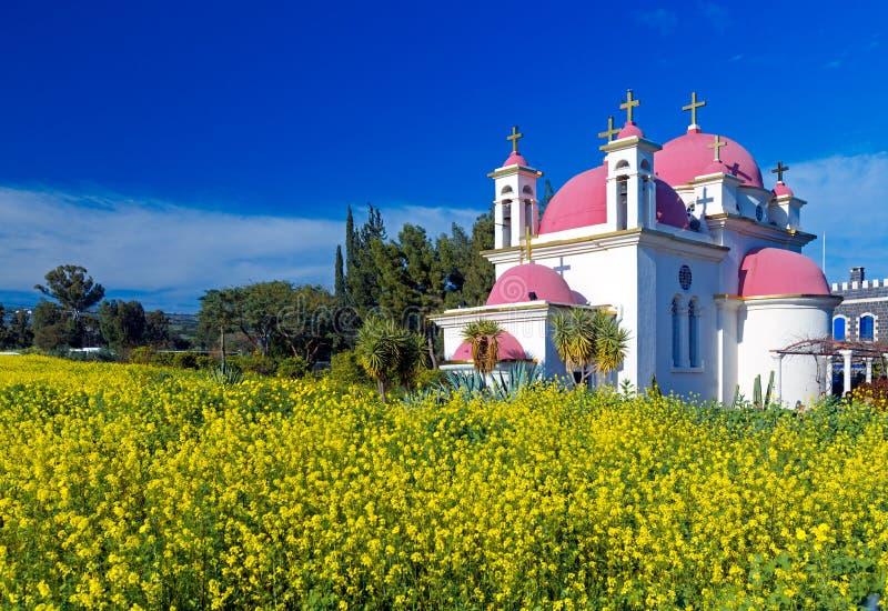 Campo de la iglesia ortodoxa y de la mostaza cerca del mar de Galilea fotos de archivo libres de regalías