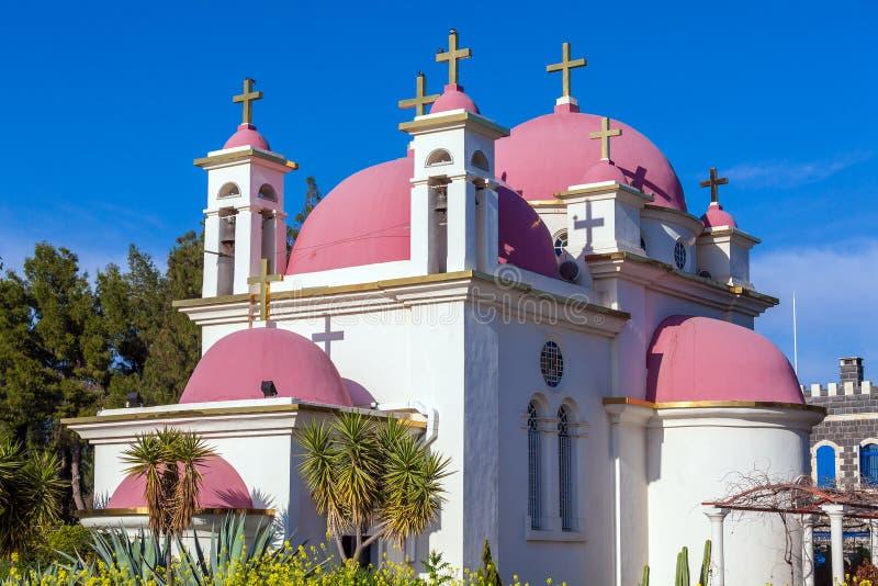 Campo de la iglesia ortodoxa y de la mostaza cerca del mar de Galilea fotografía de archivo