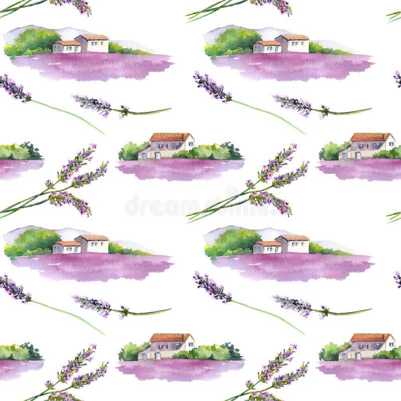 Campo de la lavanda, casa provencal rural en Provence, Francia Fondo inconsútil watercolor stock de ilustración