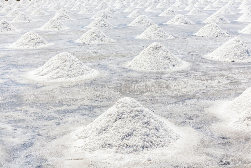 Campo de la producción de sal del mar en el campo de Tailandia, sal indus imagen de archivo