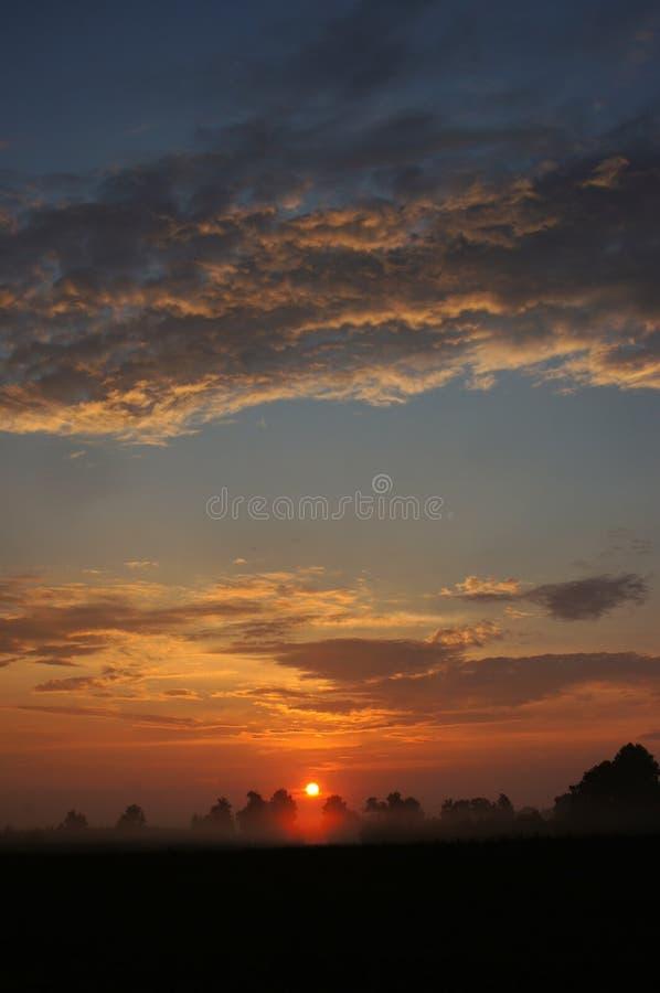 Campo de la salida del sol con la niebla fotos de archivo