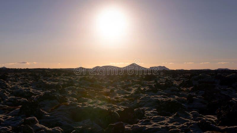 Campo de lava de Islândia no por do sol fotografia de stock royalty free